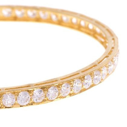 Three Stone Set 22ct Yellow Gold & Cubic Zirconia Bangles (G1821), Minar Jewellers - 1