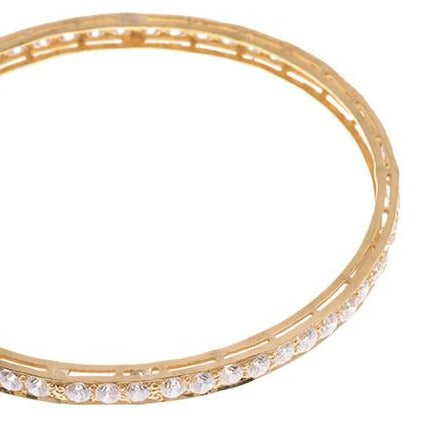 Three Stone Set 22ct Yellow Gold & Cubic Zirconia Bangles (G1821), Minar Jewellers - 7