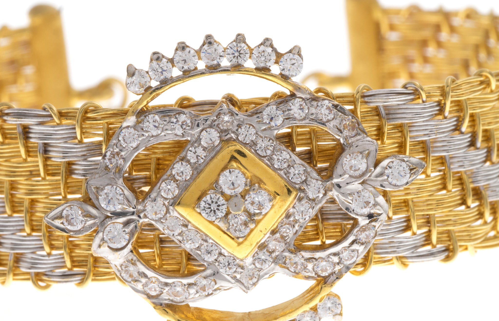 22ct Yellow Gold Bangle with Cubic Zirconia Stones and Rhodium Plating (G1777), Minar Jewellers - 3