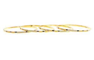 4 x Hand Finished 22ct Yellow Gold Bangles with White Rhodium Plating (G1905), Minar Jewellers - 2