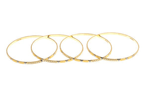4 x Hand Finished 22ct Yellow Gold Bangles with White Rhodium Plating (G1905), Minar Jewellers - 3