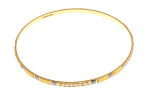 4 x Hand Finished 22ct Yellow Gold Bangles with White Rhodium Plating (G1905), Minar Jewellers - 5