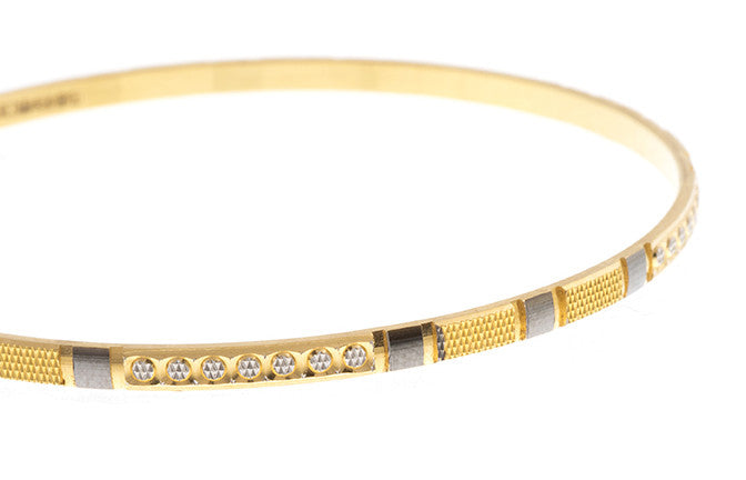 4 x Hand Finished 22ct Yellow Gold Bangles with White Rhodium Plating (G1905), Minar Jewellers - 1