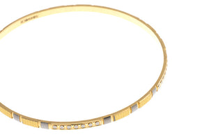 4 x Hand Finished 22ct Yellow Gold Bangles with White Rhodium Plating (G1905), Minar Jewellers - 8