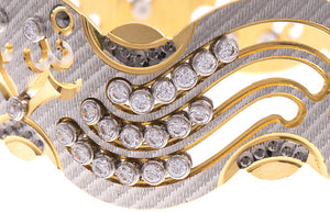 Stone Set 22ct Yellow Gold Cubic Zirconia Bangle with White Rhodium Plating (G1775), Minar Jewellers - 1