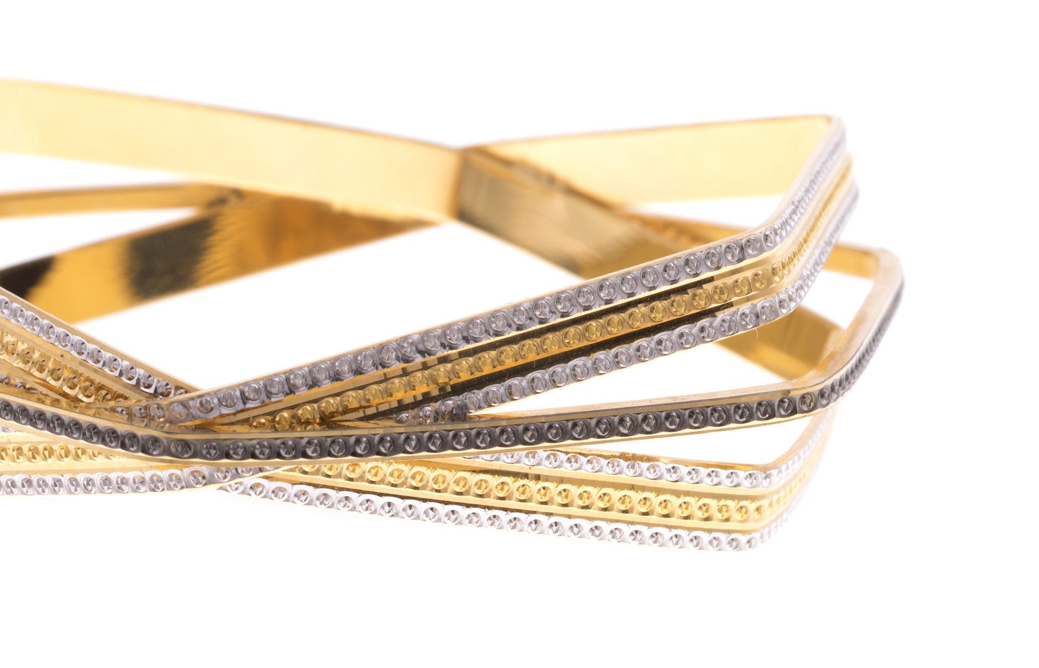 Two 22ct Yellow Gold Hexagonal Bangles with Black & White Rhodium Plating (G1897), Minar Jewellers - 7
