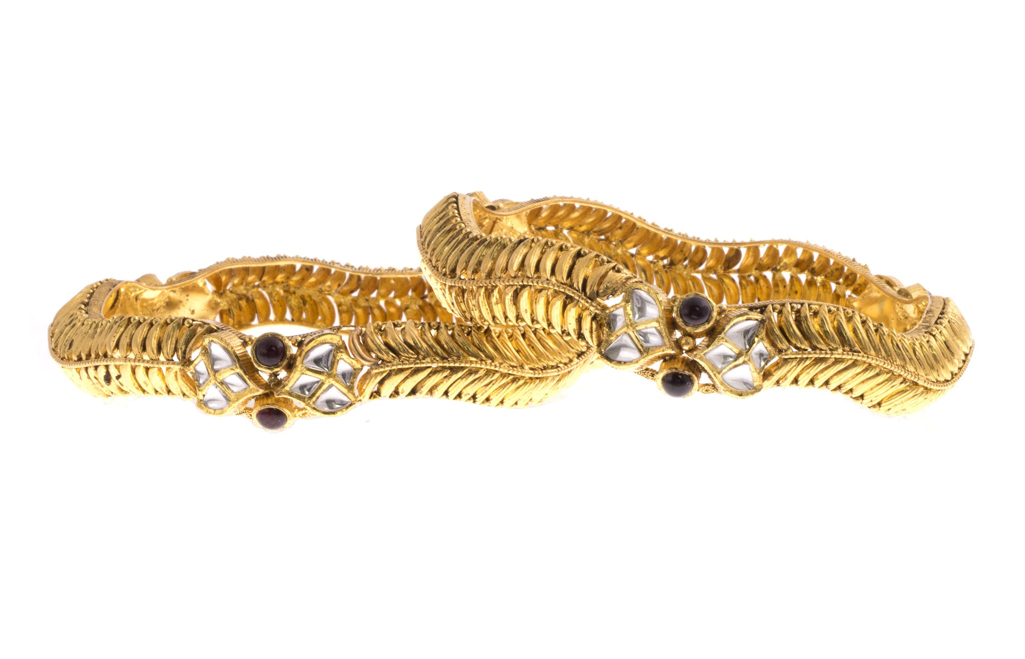 22ct Yellow Gold Antique Look Bangle with Synthetic Stones (G1753), Minar Jewellers - 4