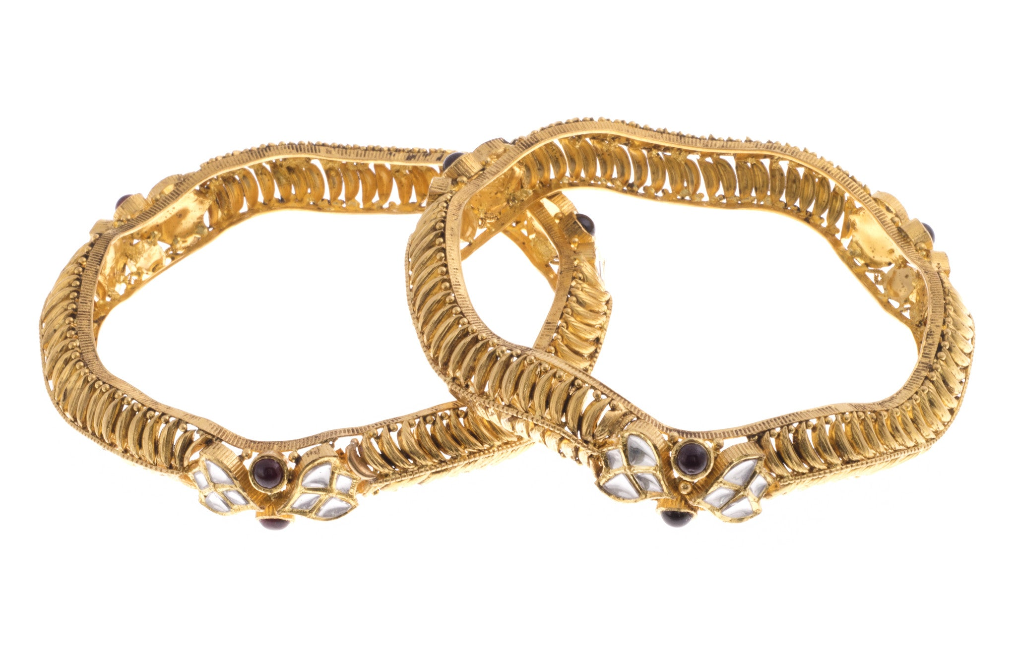22ct Yellow Gold Antique Look Bangle with Synthetic Stones (G1753), Minar Jewellers - 5