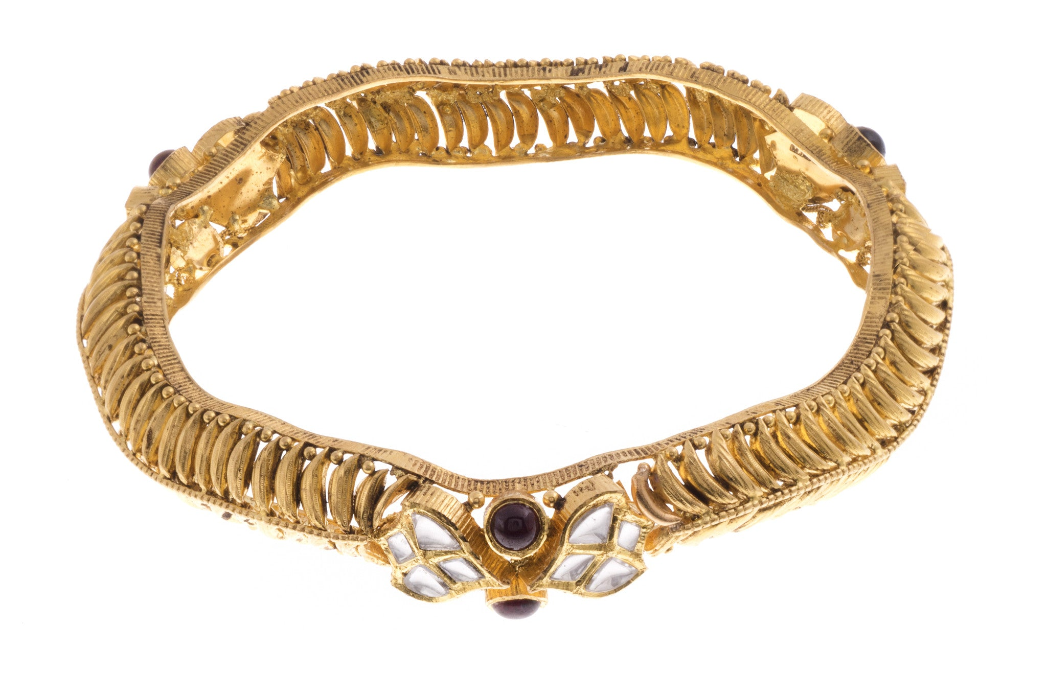 22ct Yellow Gold Antique Look Bangle with Synthetic Stones (G1753), Minar Jewellers - 2