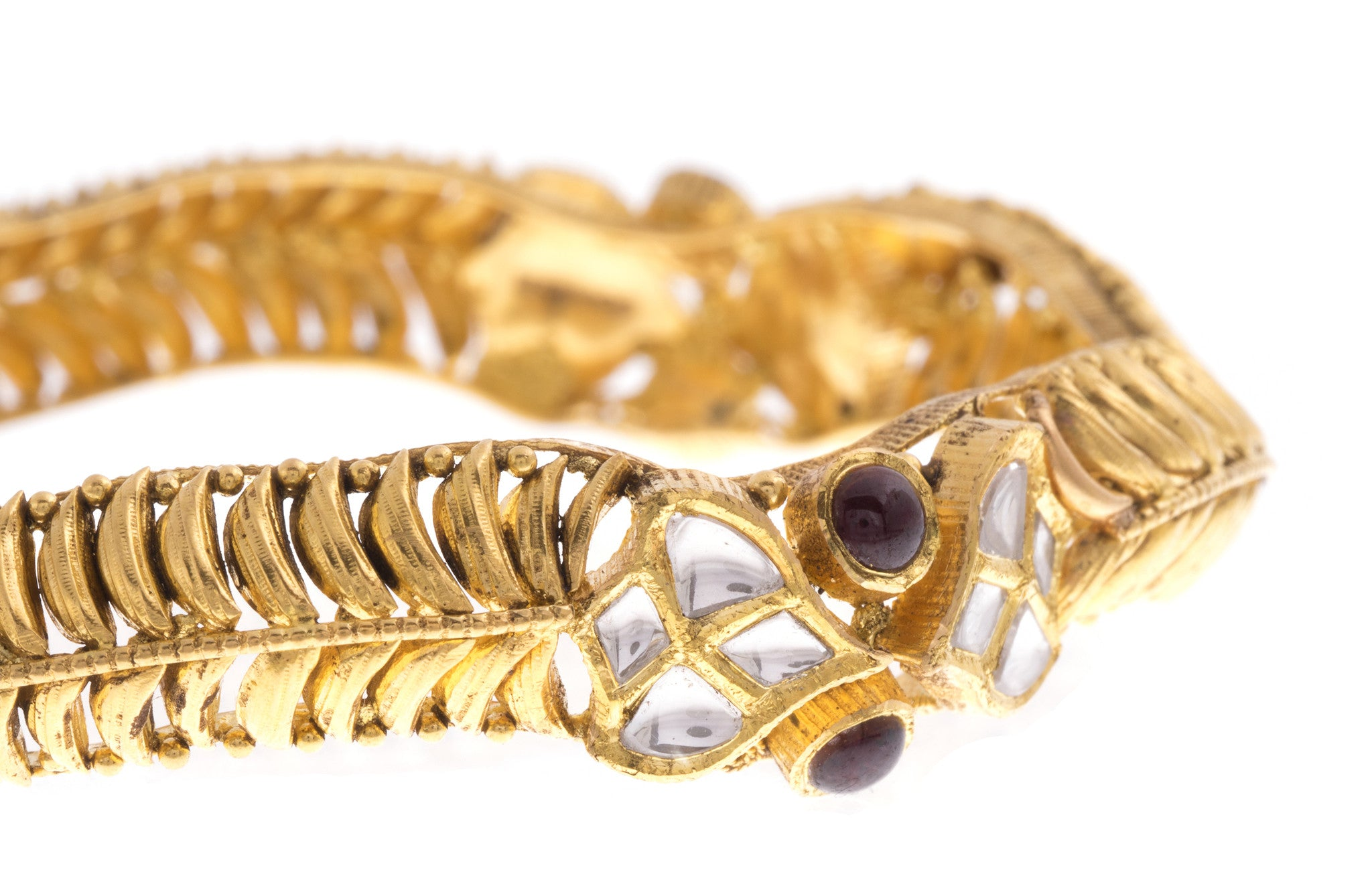 22ct Yellow Gold Antique Look Bangle with Synthetic Stones (G1753), Minar Jewellers - 7