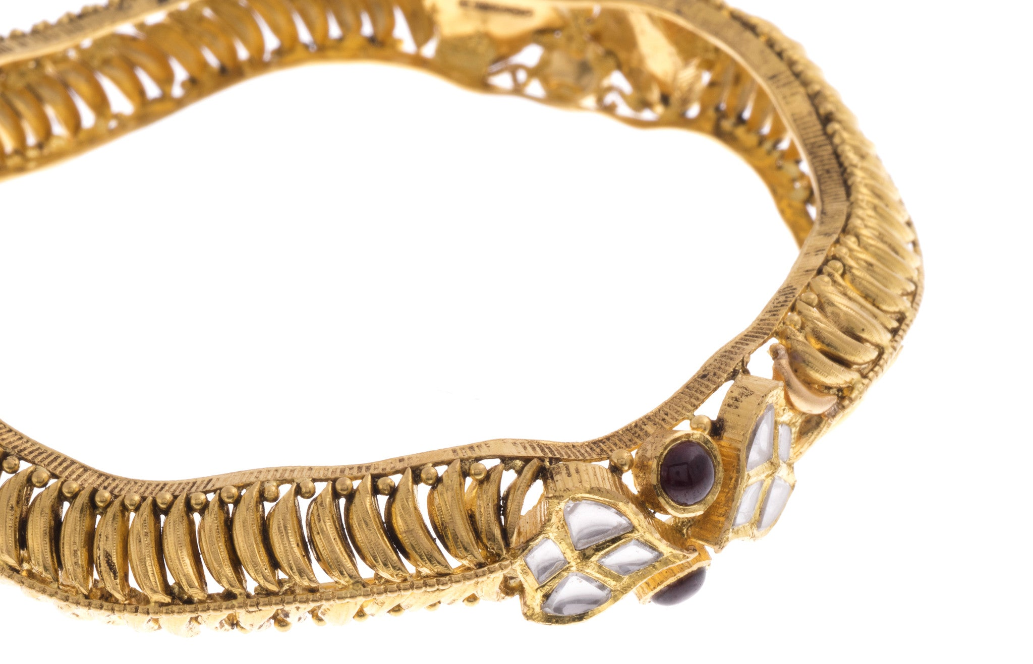 22ct Yellow Gold Antique Look Bangle with Synthetic Stones (G1753), Minar Jewellers - 8