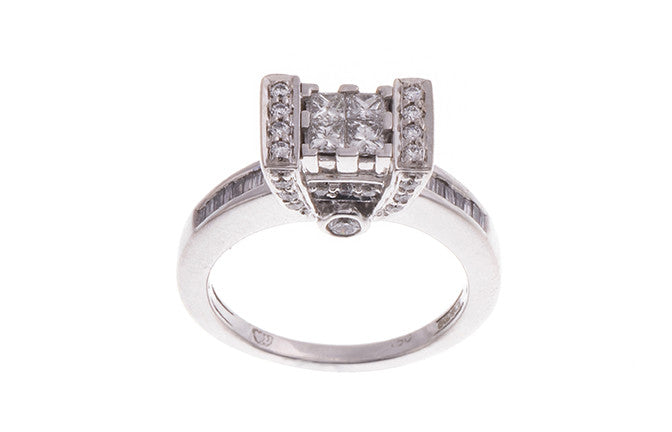 18ct White Gold Diamond Dress Ring, Minar Jewellers - 1