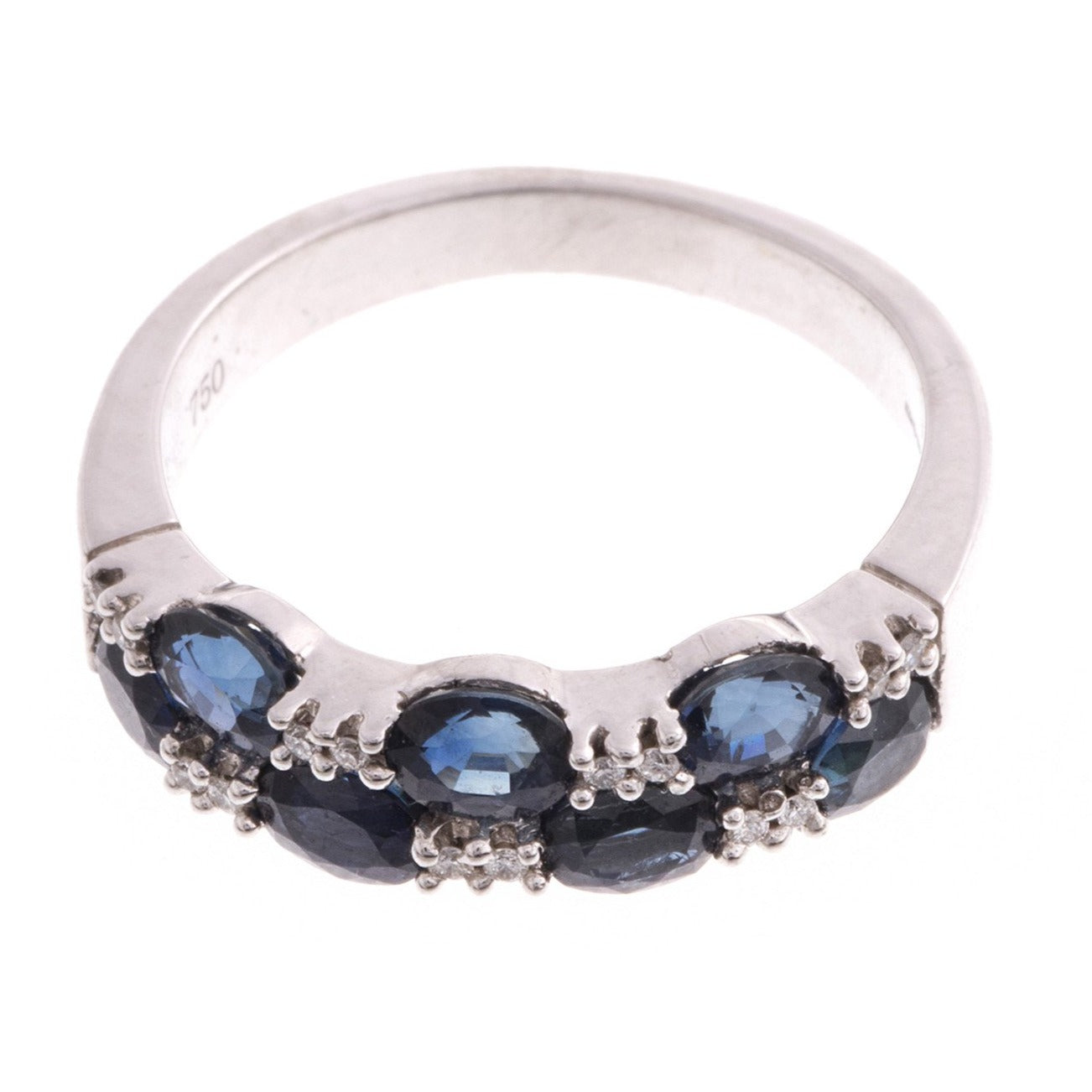 18ct White Gold Diamond & Blue Sapphire Ring, Minar Jewellers - 4
