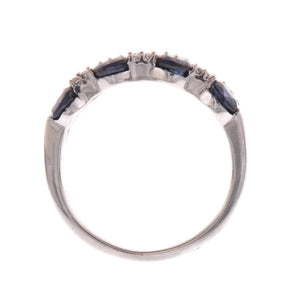 18ct White Gold Diamond & Blue Sapphire Ring, Minar Jewellers - 1