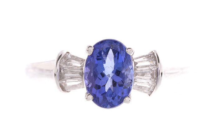 18ct White Gold Tanzanite & Diamond Dress Ring, Minar Jewellers - 2