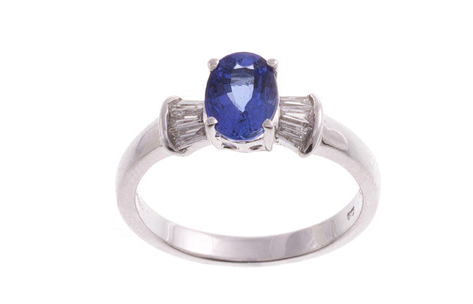 18ct White Gold Tanzanite & Diamond Dress Ring, Minar Jewellers - 1