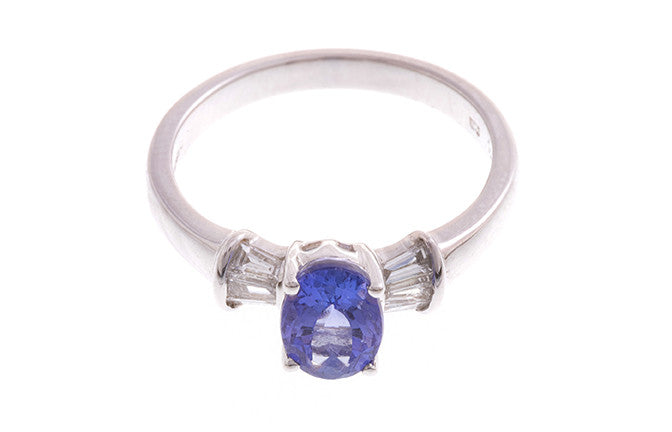 18ct White Gold Tanzanite & Diamond Dress Ring, Minar Jewellers - 4