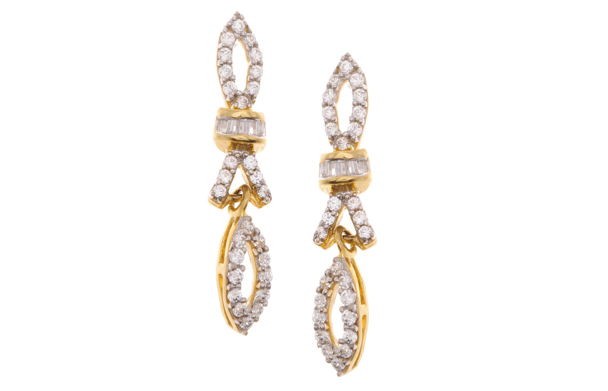 22ct Yellow Gold Cubic Zirconia Mangal Sutra & Earring Set, Minar Jewellers - 7