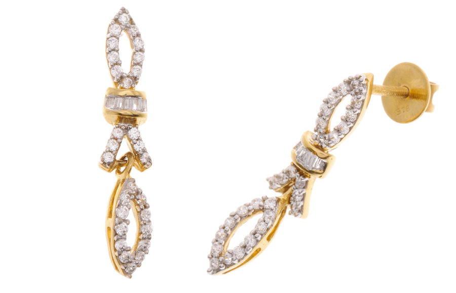 22ct Yellow Gold Cubic Zirconia Mangal Sutra & Earring Set, Minar Jewellers - 1