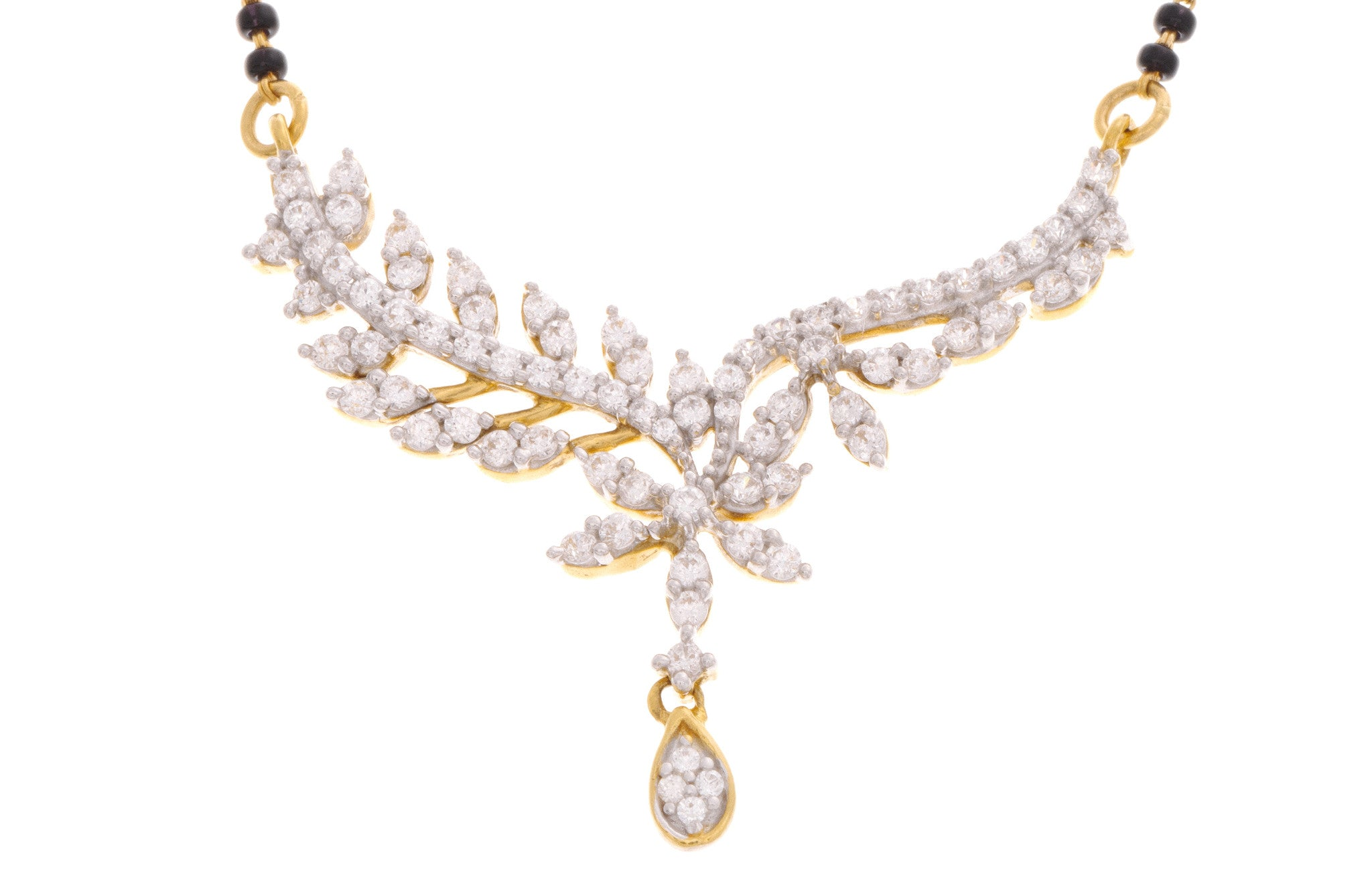 22ct Yellow Gold Cubic Zirconia Mangal Sutra & Earring Set, Minar Jewellers - 4