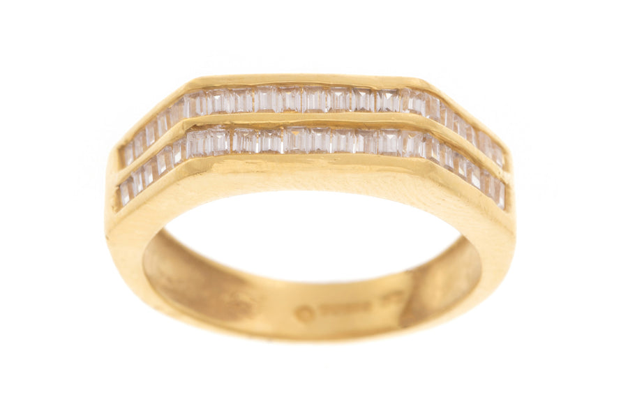 22ct Gold Ring set with Baguette Cut Swarovski Zirconias (5.7g) LR-2321