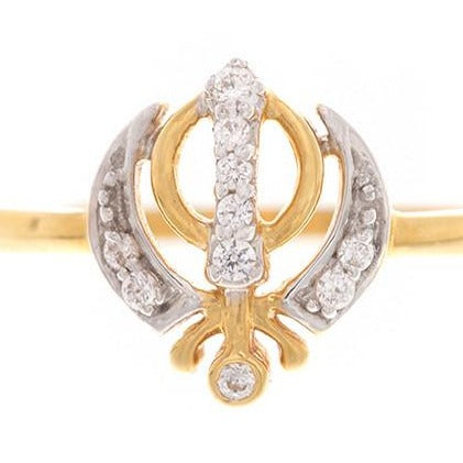 22ct Yellow Gold Cubic Zirconia Khanda Ring, Minar Jewellers - 2