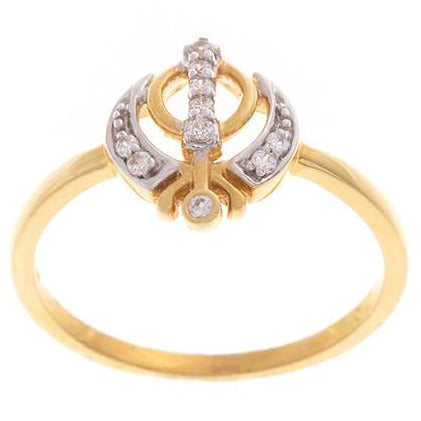 22ct Yellow Gold Cubic Zirconia Khanda Ring, Minar Jewellers - 3