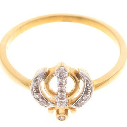 22ct Yellow Gold Cubic Zirconia Khanda Ring, Minar Jewellers - 4