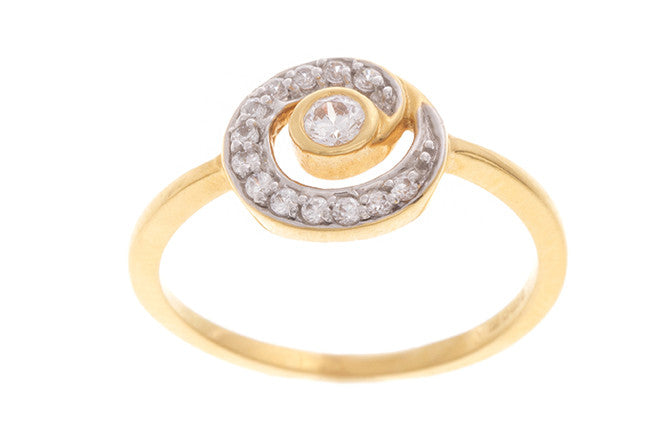 22ct Yellow Gold Cubic Zirconia Dress Ring (LR11147)