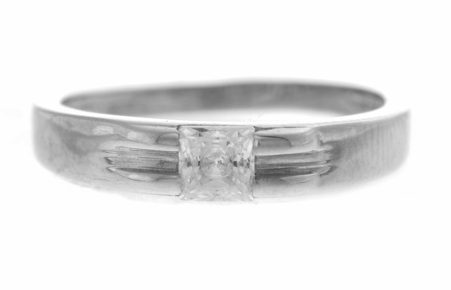 18ct White Gold Cubic Zirconia Dress Ring (3g) LR-2360