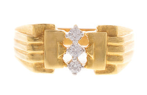 22ct Yellow Gold Cubic Zirconia Gents Ring (GR-2376)