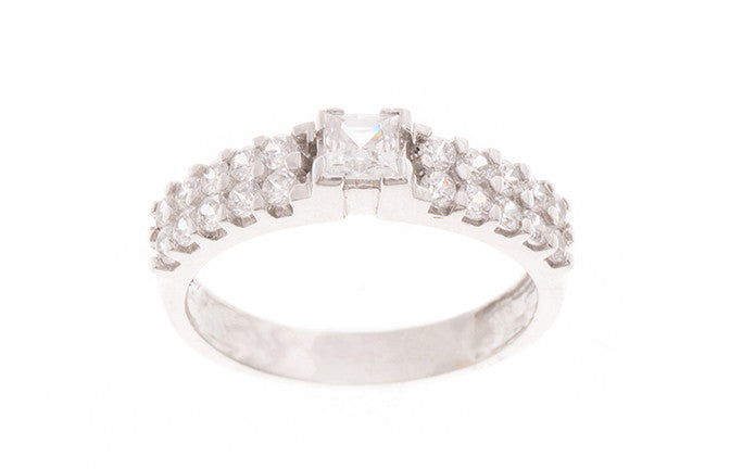 18ct White Gold Cubic Zirconia Dress Ring (LR-2447)