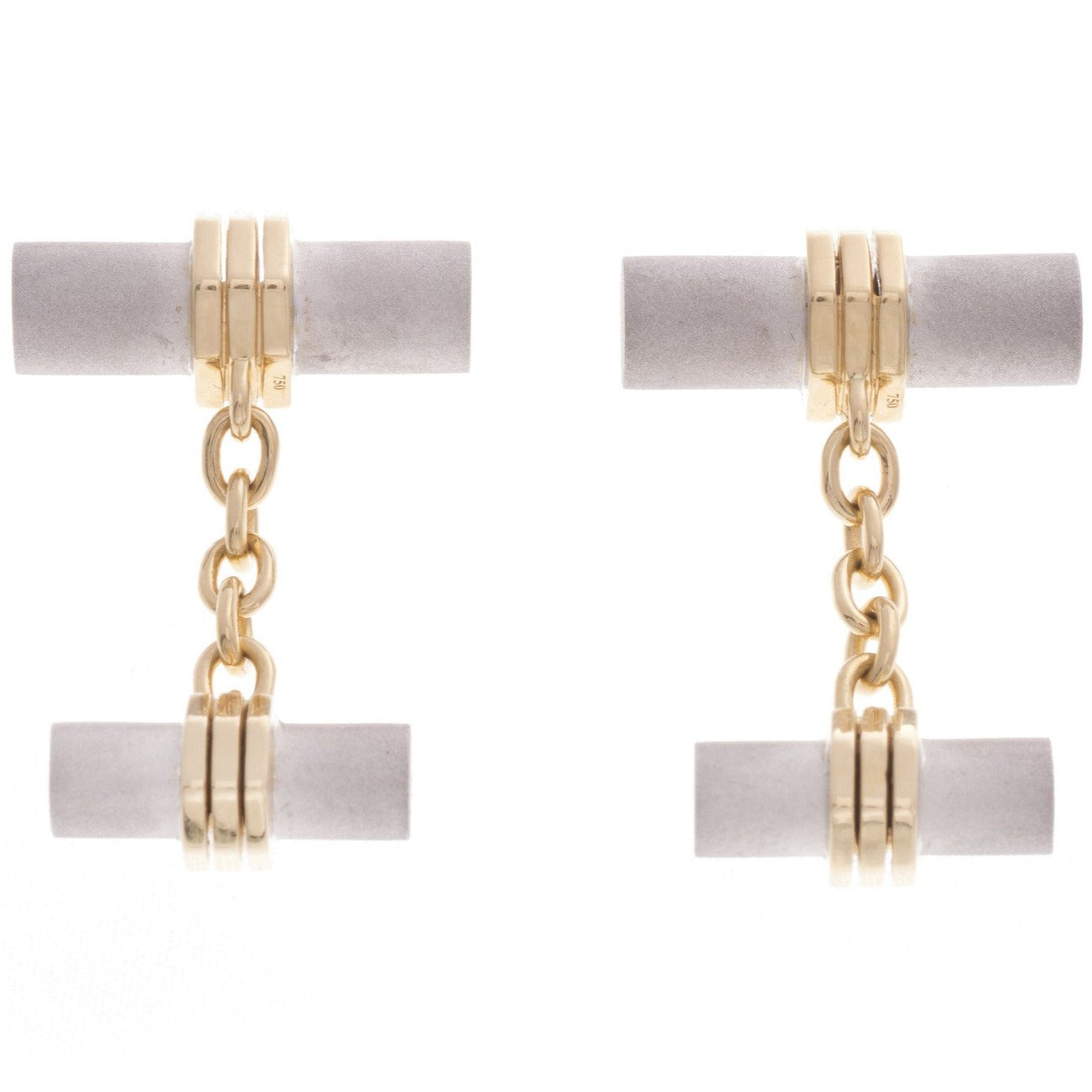 18ct White & Yellow Gold Men's Cufflinks, Minar Jewellers - 3