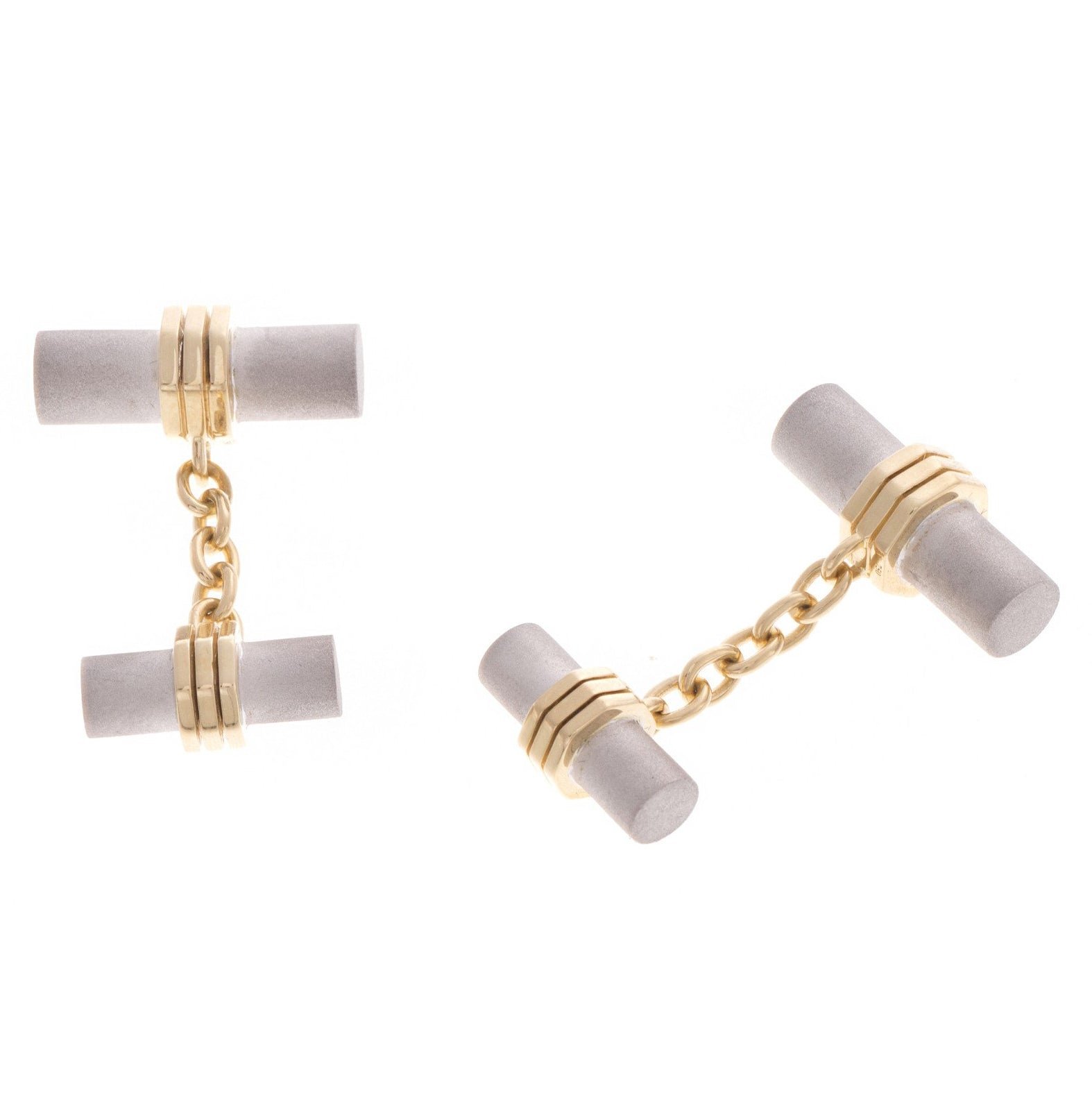 18ct White & Yellow Gold Men's Cufflinks, Minar Jewellers - 5