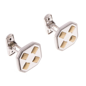 18ct White & Yellow Gold Men's Cufflinks, Minar Jewellers - 1