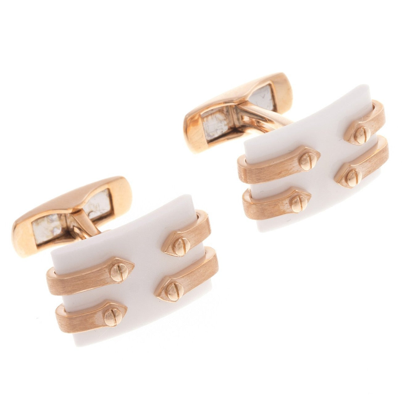 18ct Rose Gold Men's Cufflinks, Minar Jewellers - 1