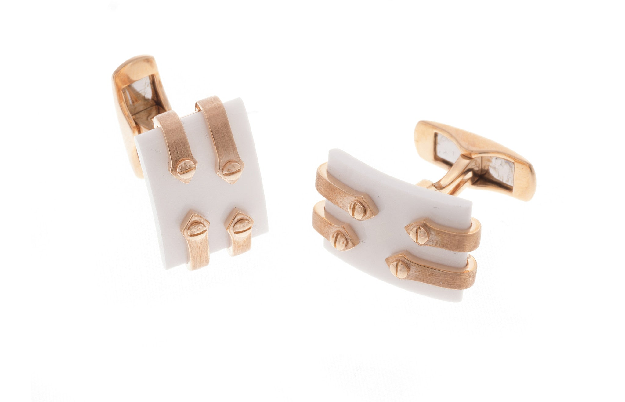18ct Rose Gold Men's Cufflinks, Minar Jewellers - 5