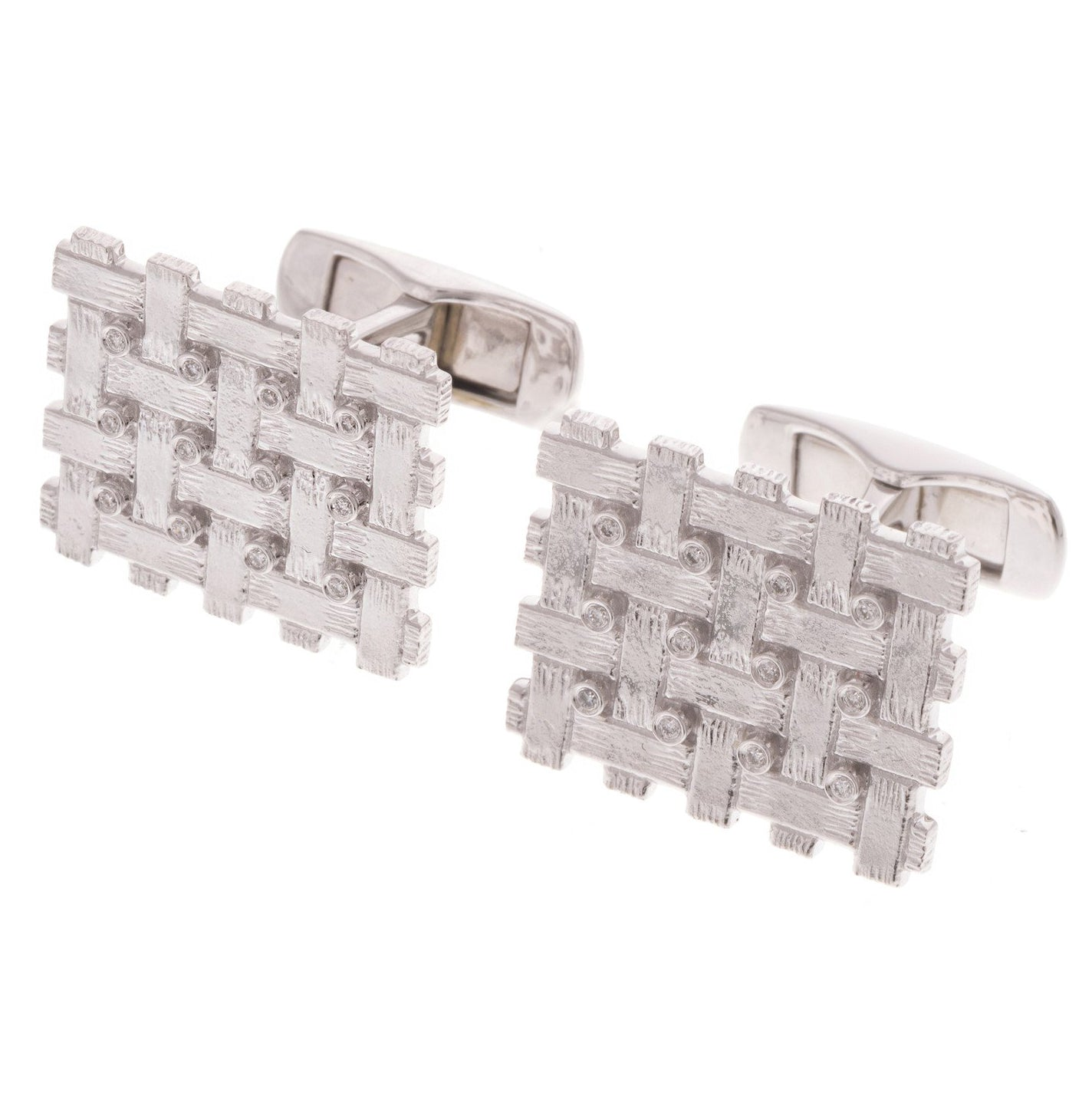 18ct White Gold Diamond Men's Cufflinks, Minar Jewellers - 2