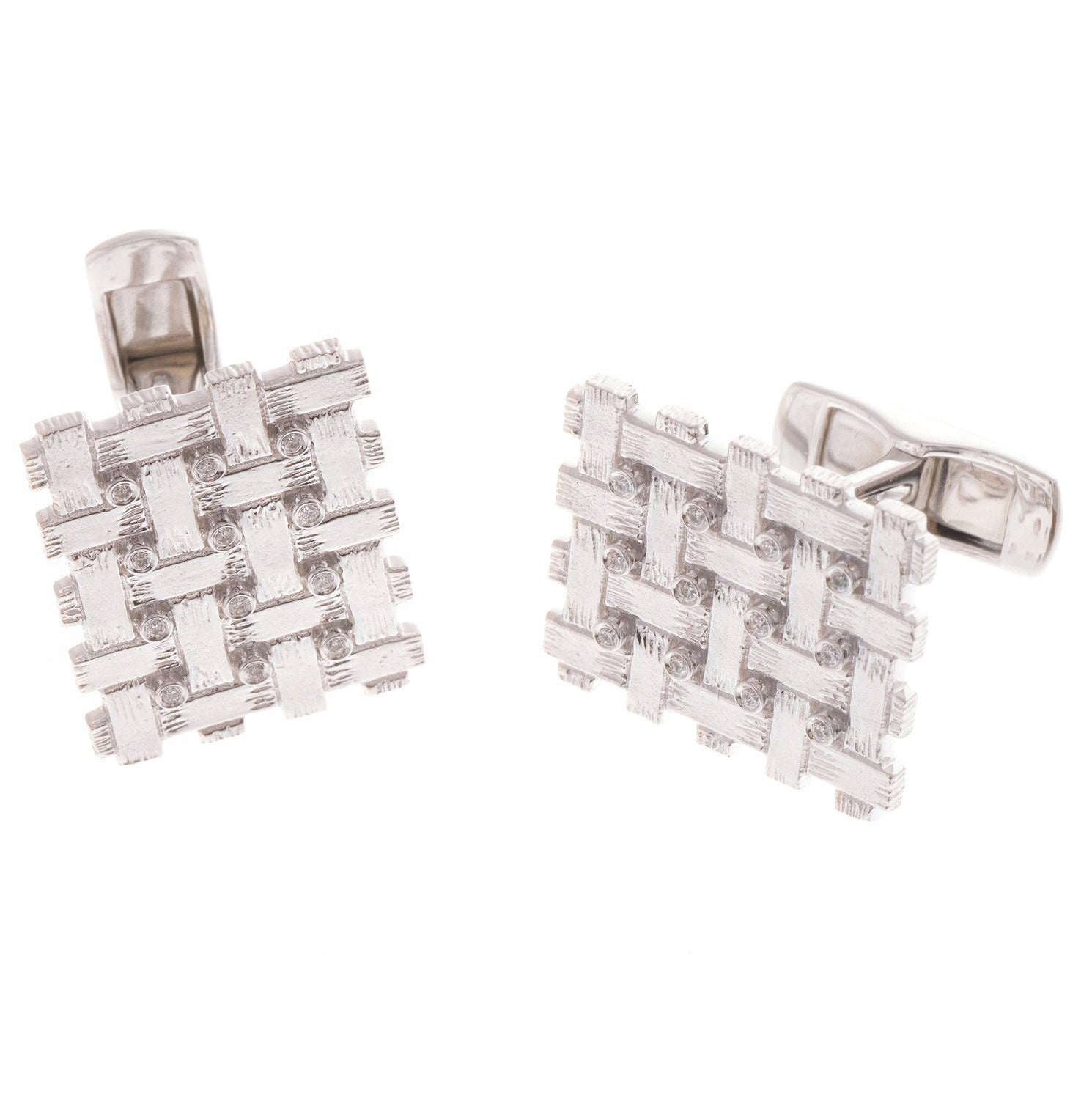 18ct White Gold Diamond Men's Cufflinks, Minar Jewellers - 4