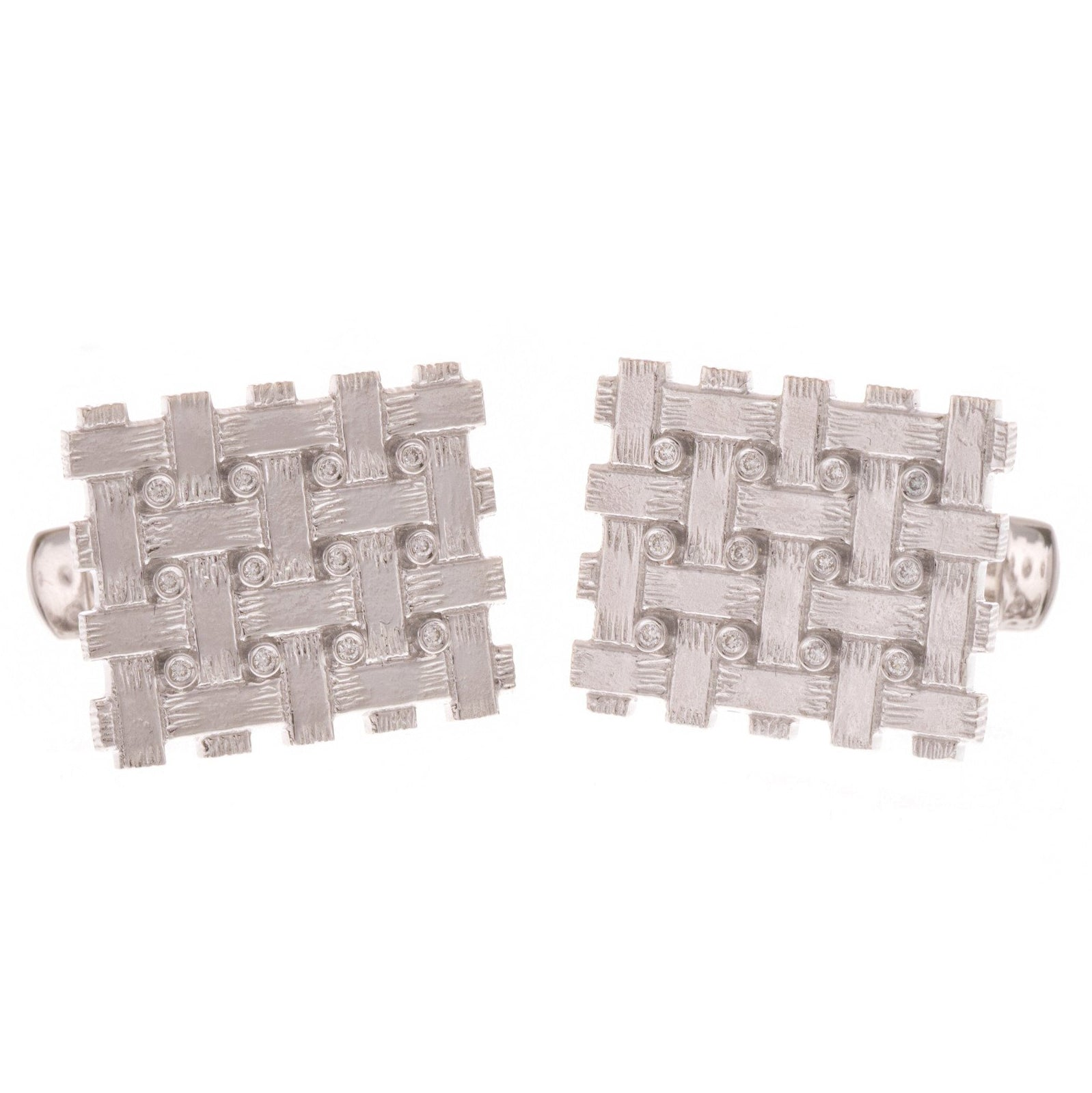18ct White Gold Diamond Men's Cufflinks, Minar Jewellers - 5
