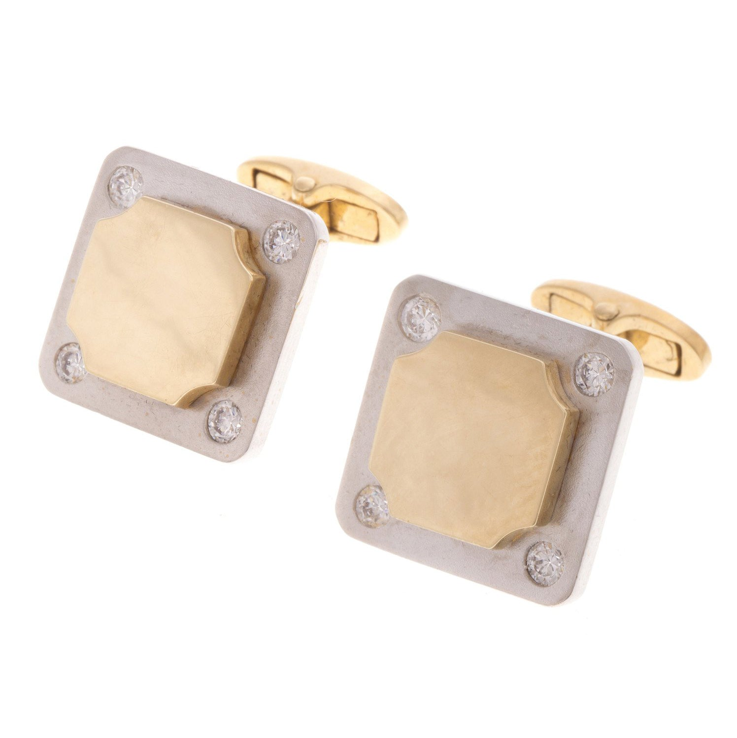18ct Two Tone Gold Men's Cufflinks set with Cubic Zirconias (G5857), Minar Jewellers - 2
