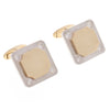 18ct Two Tone Gold Men's Cufflinks set with Cubic Zirconias (G5857), Minar Jewellers - 1