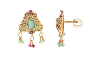 22ct Gold Earrings set with coloured stones (9.1g) (E-2728)