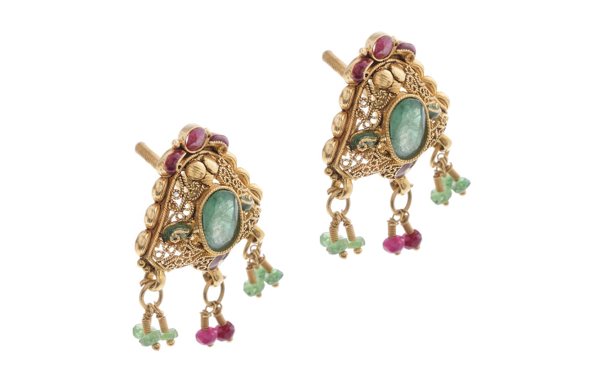 22ct Yellow Gold Earrings set with coloured stones (E-2728) (online price only)