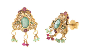 22ct Yellow Gold Earrings set with coloured stones (G1549), Minar Jewellers - 4