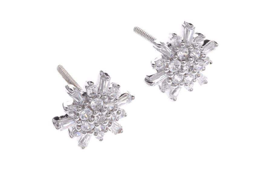 18ct White Gold Earrings set with Cubic Zirconia stones, Minar Jewellers - 5