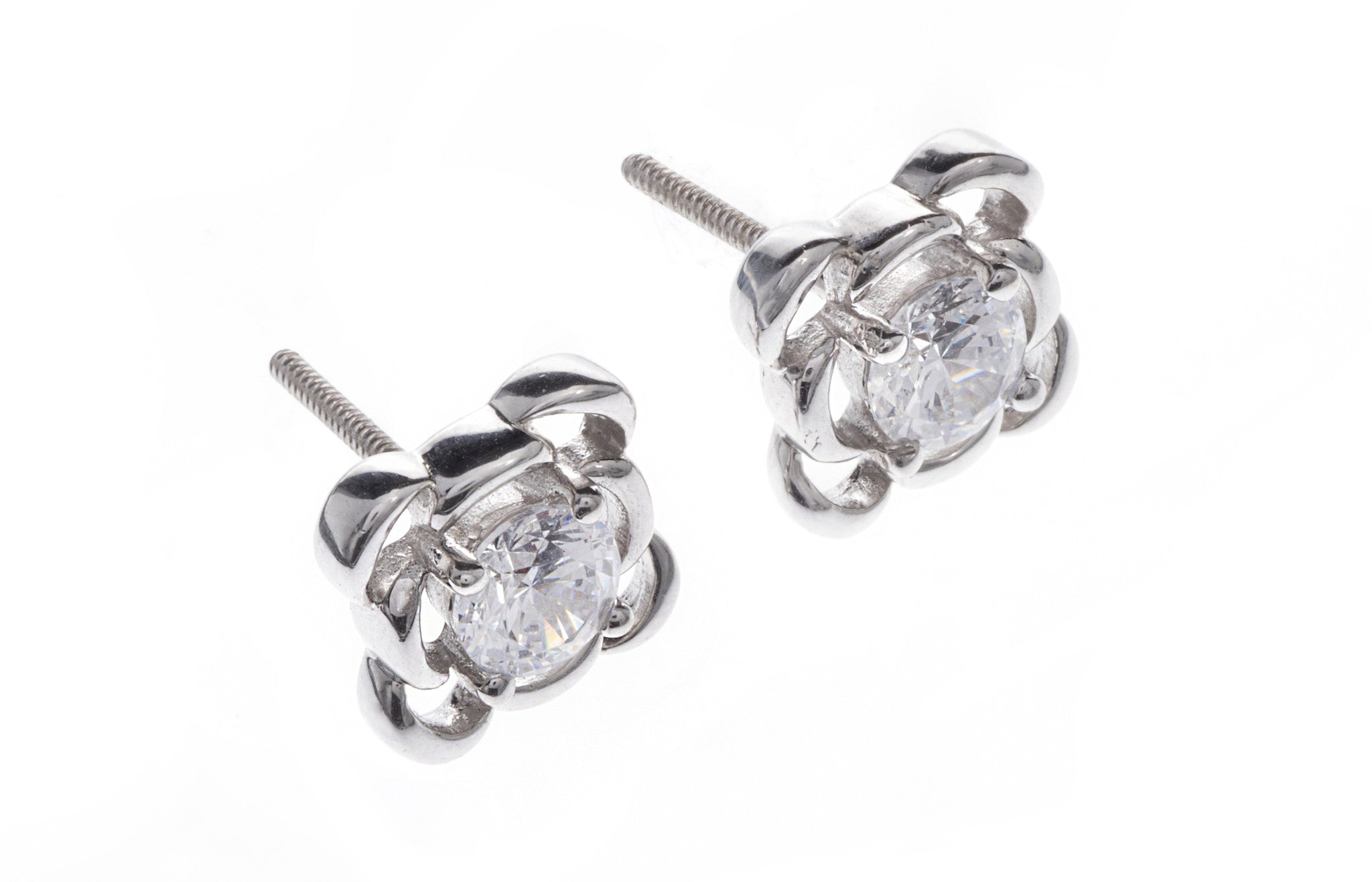 18ct White Gold Earrings set with Cubic Zirconia stones, Minar Jewellers - 1