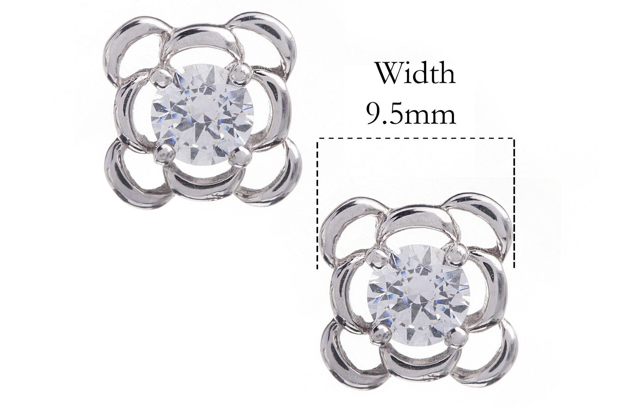 18ct White Gold Earrings set with Cubic Zirconia stones, Minar Jewellers - 3