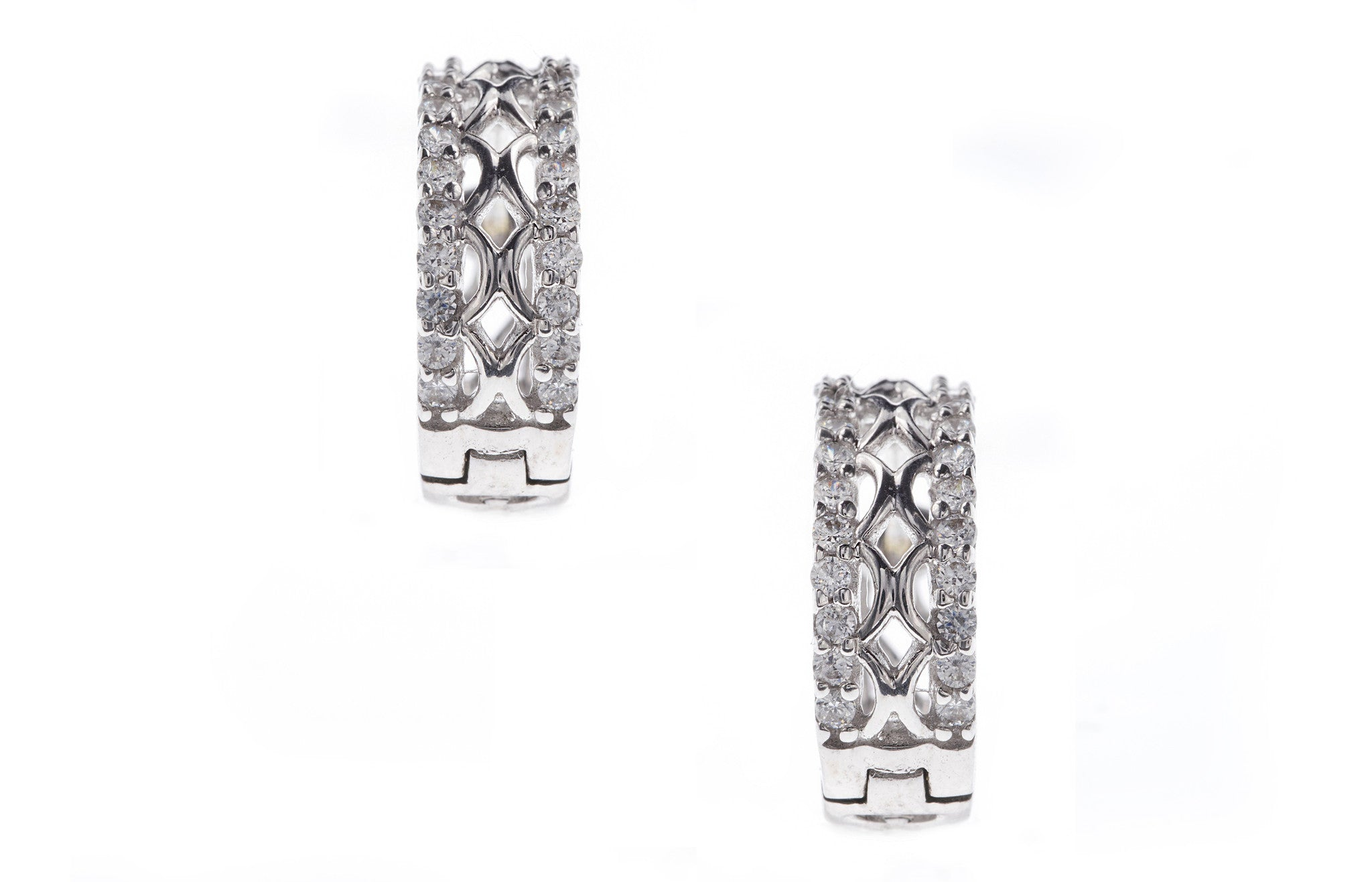 18ct White Gold Earrings set with Cubic Zirconia stones (G2867), Minar Jewellers - 2