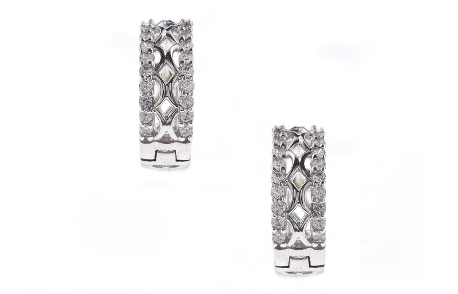 18ct White Gold Earrings set with Cubic Zirconia stones (G2867), Minar Jewellers - 1